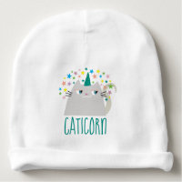 Cat White Unicorn Caticorn Colorful Stars Funny Baby Beanie