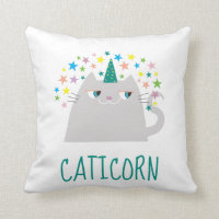 Cat White Unicorn Caticorn Colorful Stars Funny Throw Pillow