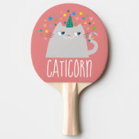 Cat White Unicorn Caticorn Colorful Stars Pink Ping Pong Paddle