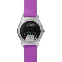 Cat White Unicorn Caticorn Stars Purple Chic Wristwatch