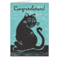 Cat with Teal Congratulations! Card