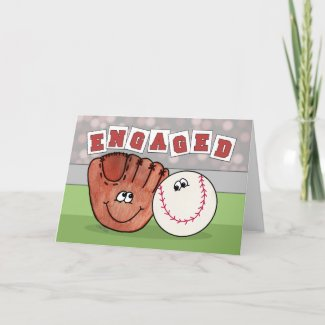 Catcher's Mitt and Baseball ENGAGEMENT Annoucement Greeting Card