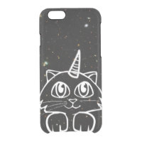 Caticorn Cat Unicorn In Space Galaxy Stars Clear iPhone 6/6S Case