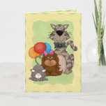 Cats and Puppy Birthday Card
