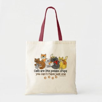 Cats are like potato chips canvas bag