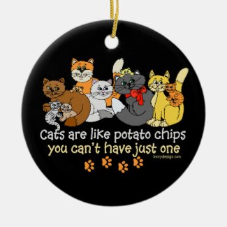 Cats are like potato chips christmas ornaments