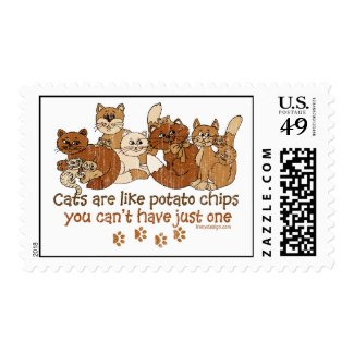Cats are like potato chips stamp