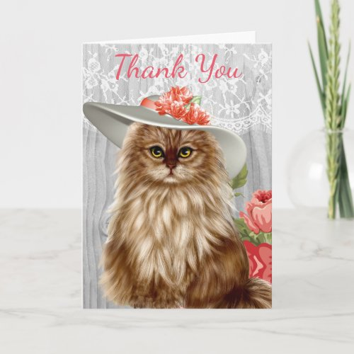 Cats dressed in hats thank you card