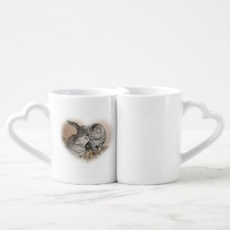 Cats in love - cat lovers mug set