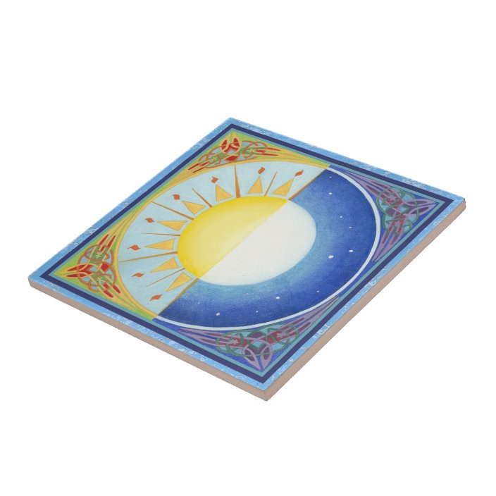 celtic equinox sun and moon ceramic tile zazzle com