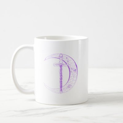 Celtic Sword and Celtic Moon (Purple) Coffee Mug by packratgraphics