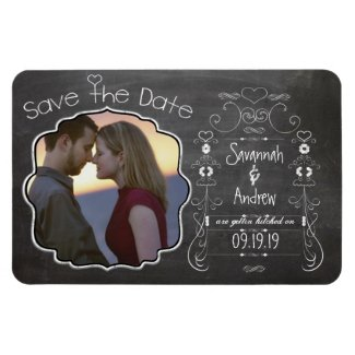 Chalkboard Art Wedding Save the Date Rectangle Magnets