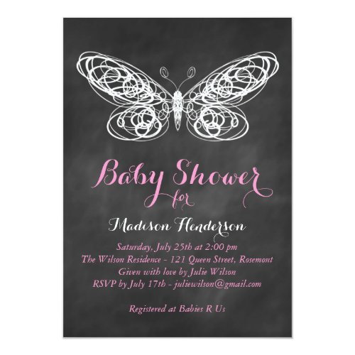Chalkboard Butterfly Baby Shower Invitation - pink