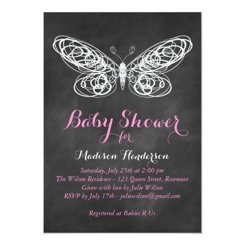 Chalkboard Butterfly Baby Shower Invitation - pink