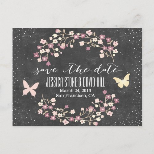 Chalkboard Butterfly & Flowers Save the Date Announcement Postcard
