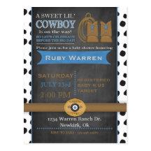 Chalkboard Cowboy Baby Shower Invitation Postcard