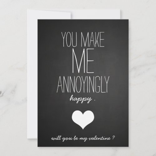 Chalkboard Cute Heart Funny Valentines Day Holiday Card