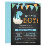 Chalkboard Blue Dinosaur Boy Baby Shower Invitations