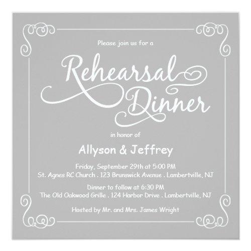 Chalkboard Gray Wedding Rehearsal Dinner Invite