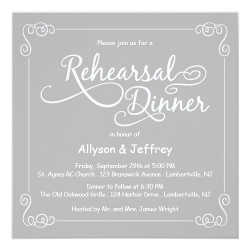 Chalkboard Gray Wedding Rehearsal Dinner Invite