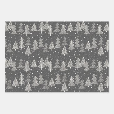Chalkboard Handdrawn Christmas Trees Snowing Wrapping Paper Sheets
