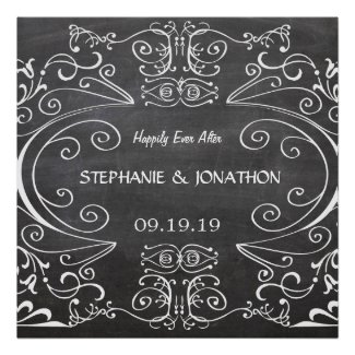 Chalkboard Happily Ever After Wedding Poster