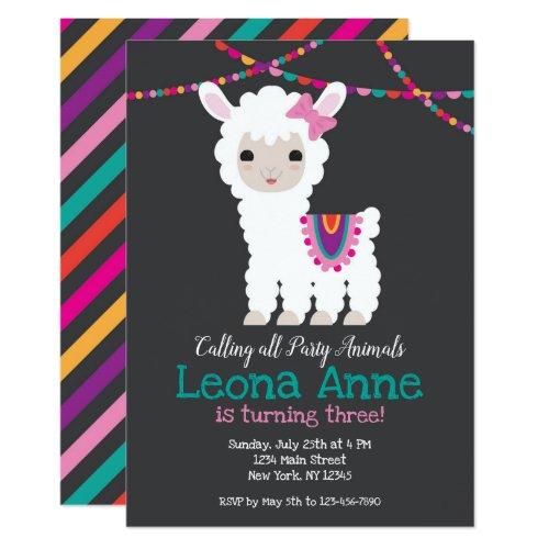 Chalkboard Llama Alpaca Birthday Invitation