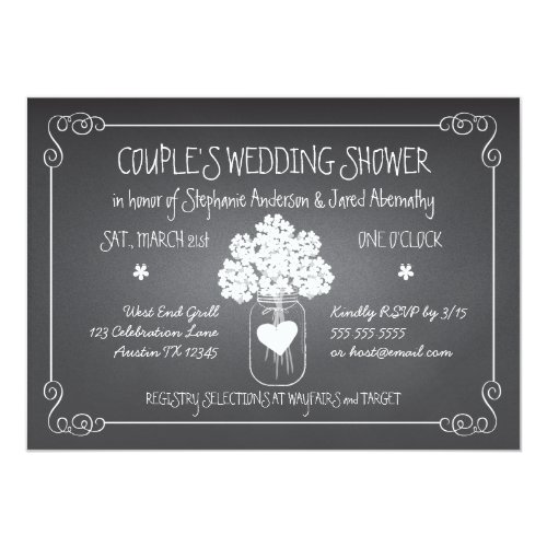 Chalkboard Mason Jar Rustic Couples Wedding Shower Invitation