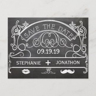 Chalkboard Mustache Lips Vintage Save the Date