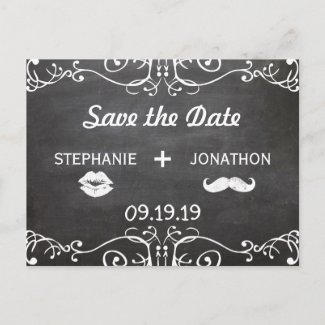 Chalkboard Mustache Lips Vintage Save the Date