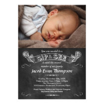 Chalkboard Photo Sip and See Party Invitation