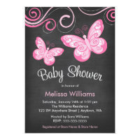Chalkboard Pink Butterfly Swirls Baby Shower Card