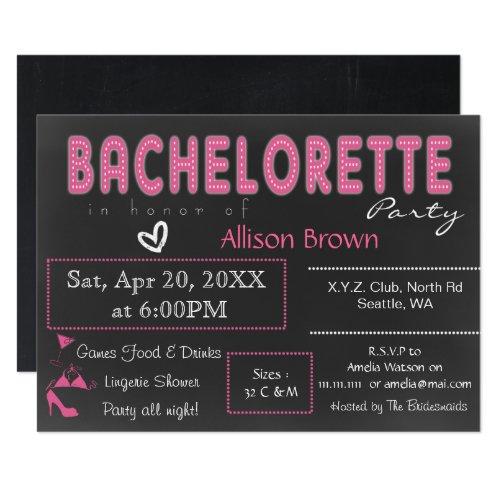 Chalkboard pink Lingerie Shower Bachelorette Invitation