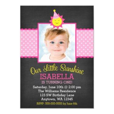 Chalkboard Pink Sunshine 1st Birthday Photo Invitation
