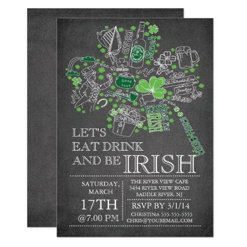 Chalkboard St. Patrick's Day Bash Dinner Party Invitation