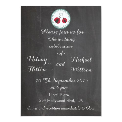 Chalkboard trendy cute ladybugs in love wedding card