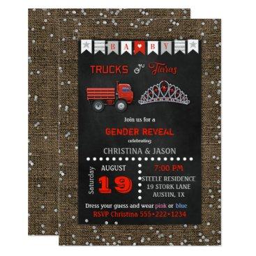Chalkboard Trucks or Tiaras Red Gray Gender Reveal Card