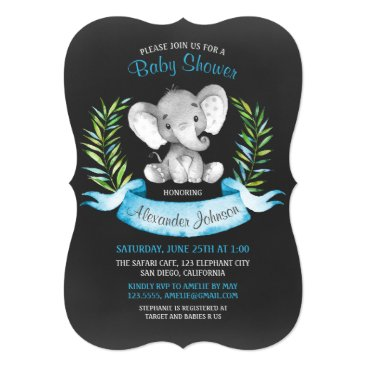 Chalkboard Watercolor Elephant Boy Baby Shower Invitation