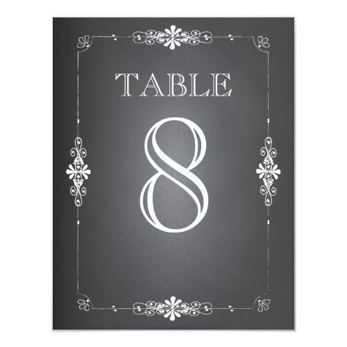 Chalkboard Wedding Reception Table Number Card