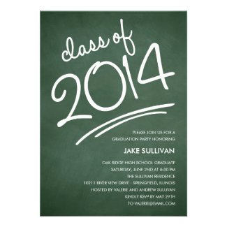 Chalkboard Writing Graduation Invitation