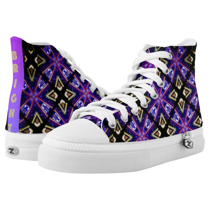 Challenging Times Purple & Gold Diamond Pattern High-Top Sneakers