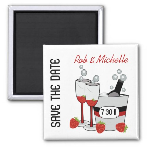 CHAMPAGNE SAVE THE DATE Custom Magnet Favor