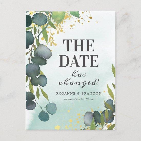 Change the Date Eucalyptus Wedding Update Announcement Postcard