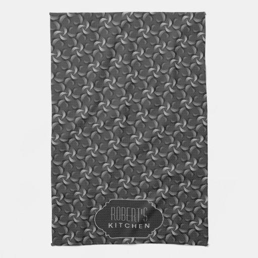 Charcoal Flower Pattern Monogram Kitchen Tea Cloth Hand Towel
