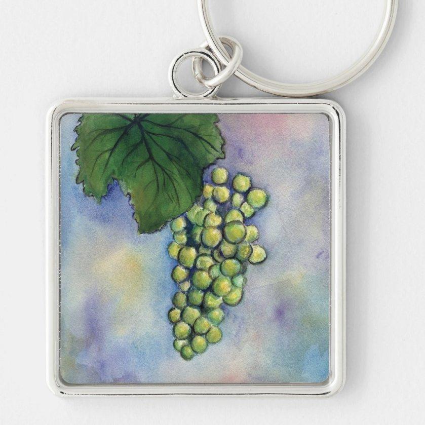 Chardonnay Wine Grapes Keychain