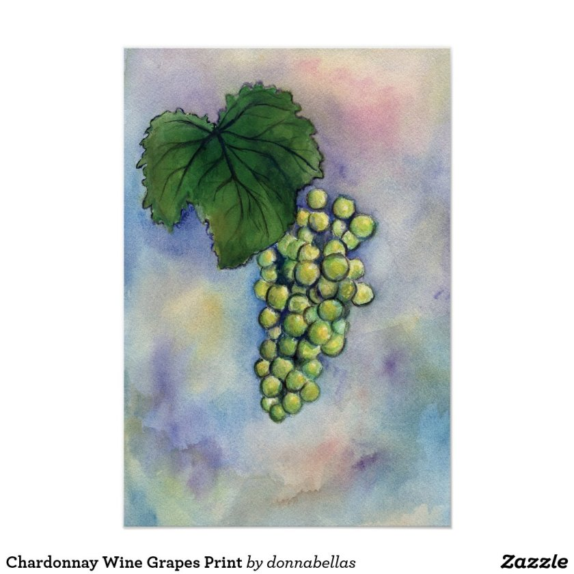 Chardonnay Wine Grapes Print