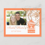 Charming Coral Birdcage Save The Date Postcard