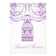 Charming Liliac Birdcage Bridal Shower Invitation