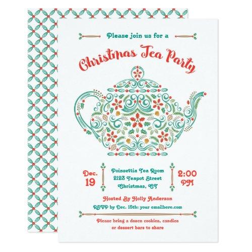 Charming Teapot Christmas Tea Party Invitation