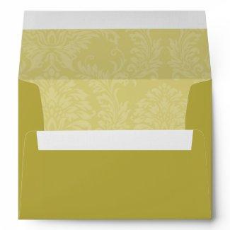 Chartreuse Damask Wedding Envelopes